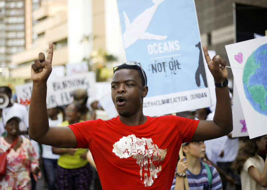 Demonstrators take part in a protest against climate change organized by the YouthStrike4Climate movement in Durban, South Africa. Photo by Rogan Ward/Reuters