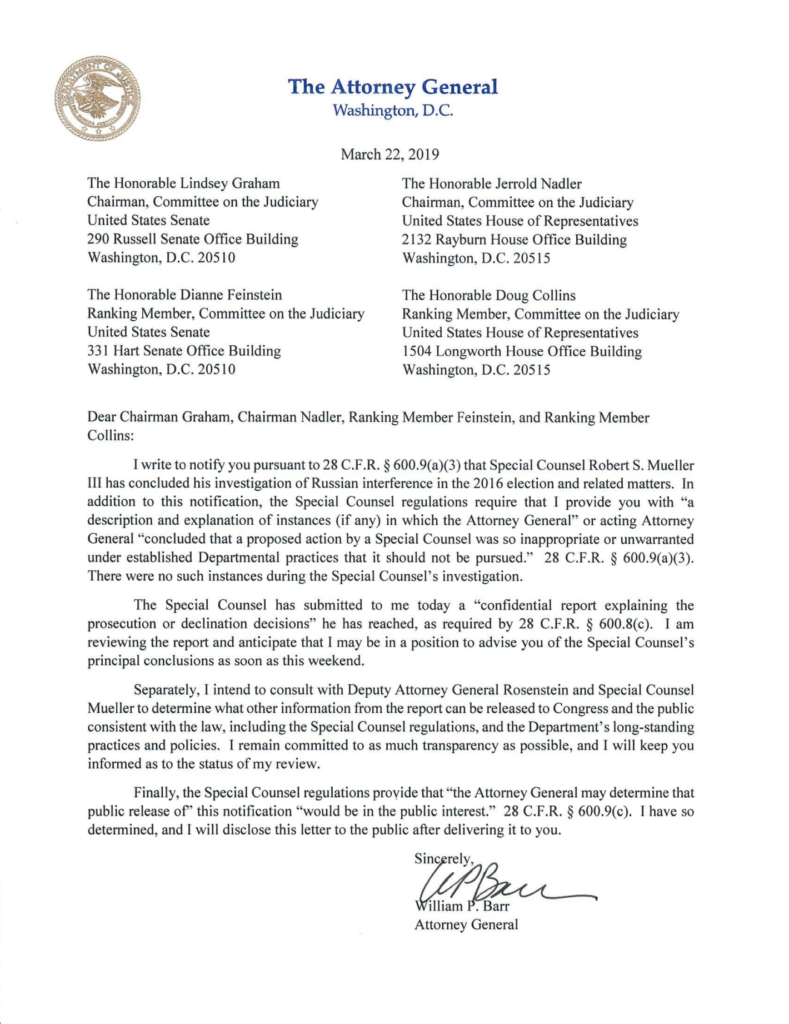 Read Attorney General Barr's full letter confirming delivery of
