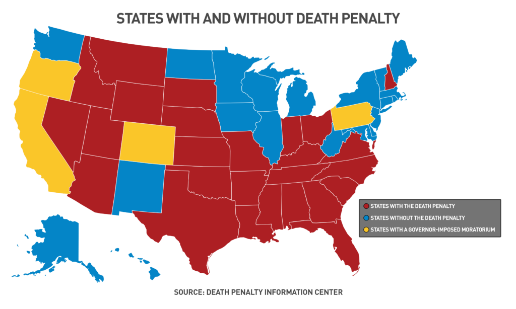States with and without the death penalty as of October 2018. Source: Death Penalty Information Center