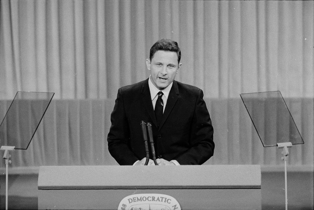 Senator Birch Bayh, D-Indiana, speaks at the 1968 Democratic National Convention in Chicago. Photo courtesy: Library of Congress