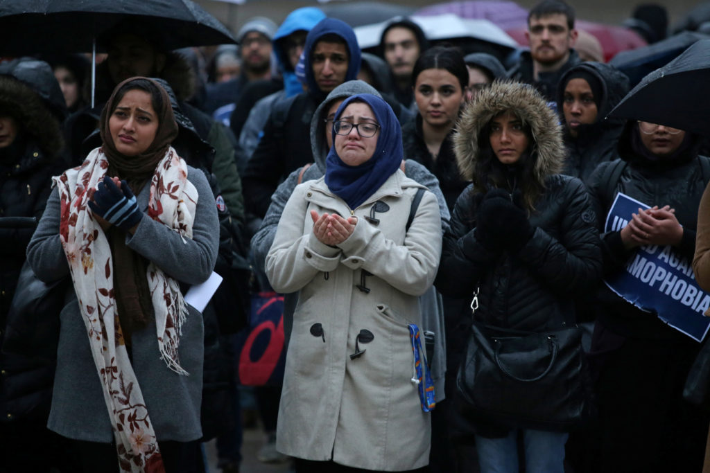 Muslims pray during a vigil for victims of the mosque shootings in New Zealand, outside city hall in Toronto, Ontario, Canada March 15, 2019.  Photo by Chris Helgren/Reuters