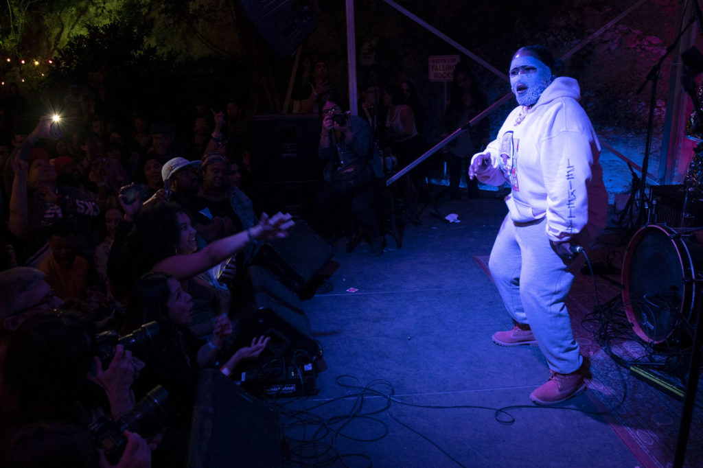 Leikeli47 performs on stage at Cheer Up Charlies in downtown Austin, Texas.