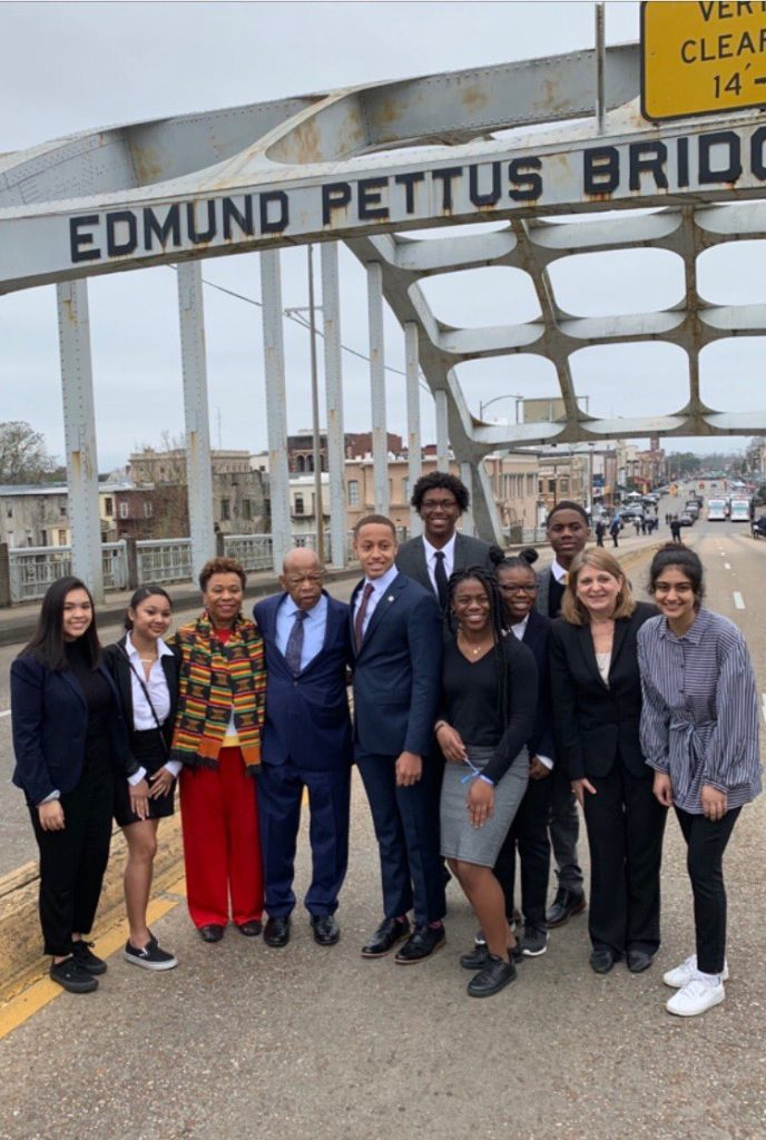 Rep. Barbara Lee posted a picture on Twitter of her standing at the foot of the Edmund Pettus Bridge. Courtesy of Rep. Barbara Lee