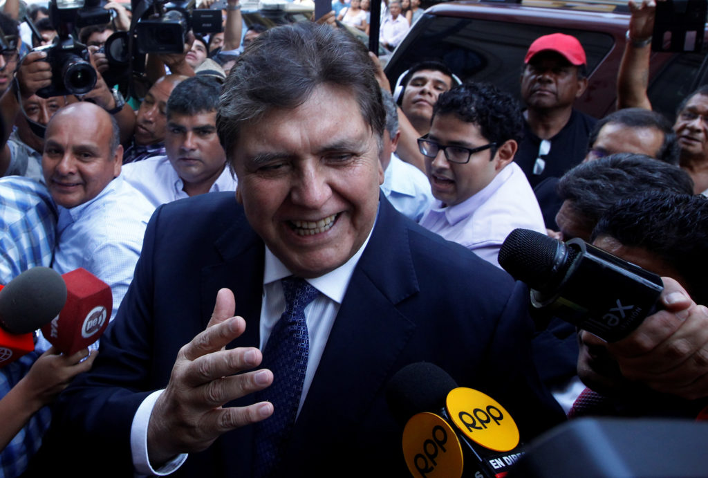 Former president of Peru Alan Garcia arrives to the National Prosecution office to testify in Odebrecht case in Lima, Peru. Photo by Guadalupe Pardo/Reuters