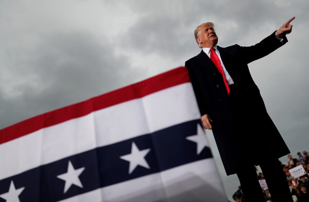 U.S. President Donald Trump arrives for a campaign rally at Huntington Tri-State Airport in Huntington, West Virginia, U.S...
