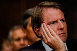 White House counsel Donald McGahn at a Senate Judiciary Committee hearing on Sept. 27, 2018. Photo by Melina Mara/Pool via Reuters