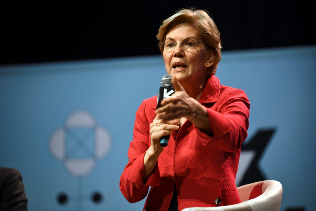Senator Elizabeth Warren speaks at the South by Southwest (SXSW) conference and festivals in Austin, Texas, on March 9, 20...