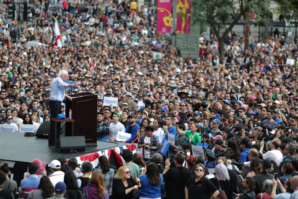 Democratic 2020 presidential candidate Bernie Sanders speaks at a r…