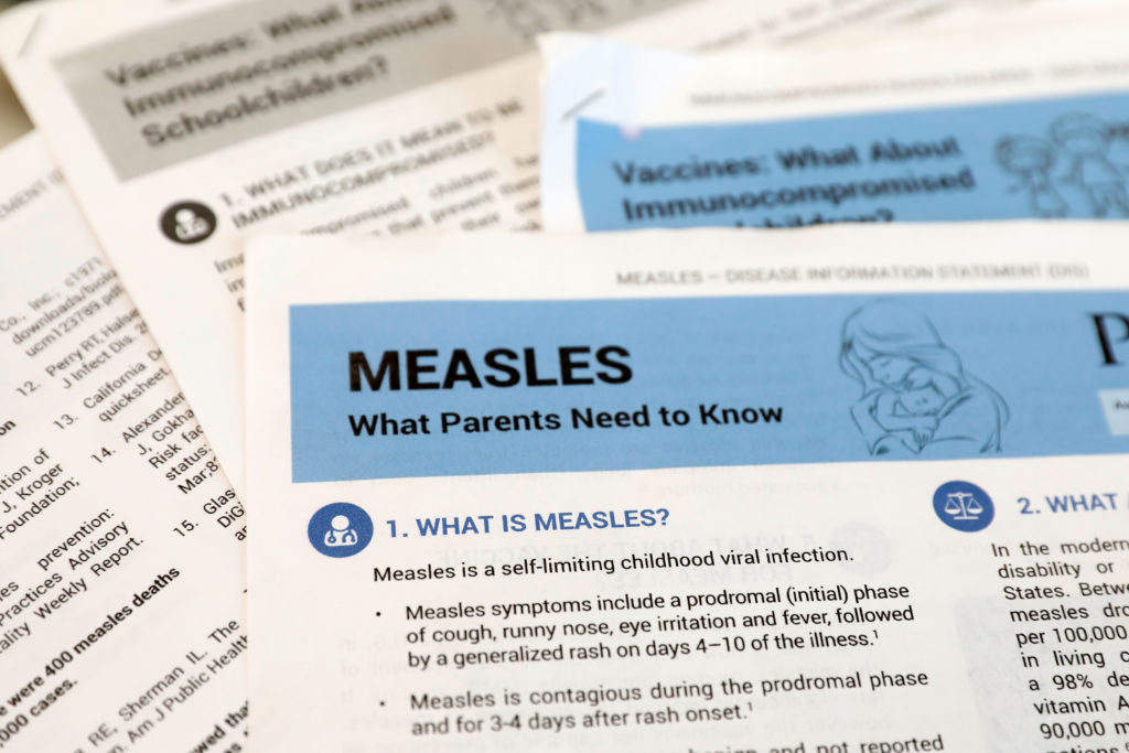 Materials are seen left at demonstration by people opposed to childhood vaccination after officials in Rockland County, a New York City suburb, banned children not vaccinated against measles from public spaces, in West Nyack, New York. Photo by Mike Segar/Reuters