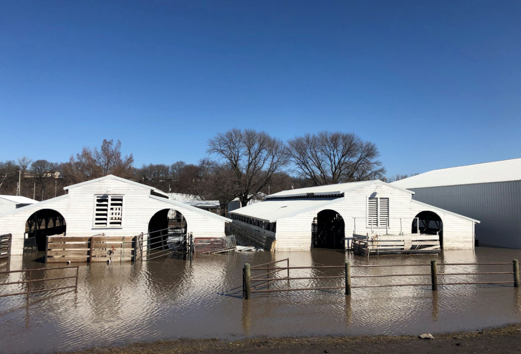 Paddocks at Washington County Fairgrounds are shown underwater due to flooding in Arlington, Nebraska, U.S., March 21, 2019. Photo by REUTERS/Humeyra Pamuk