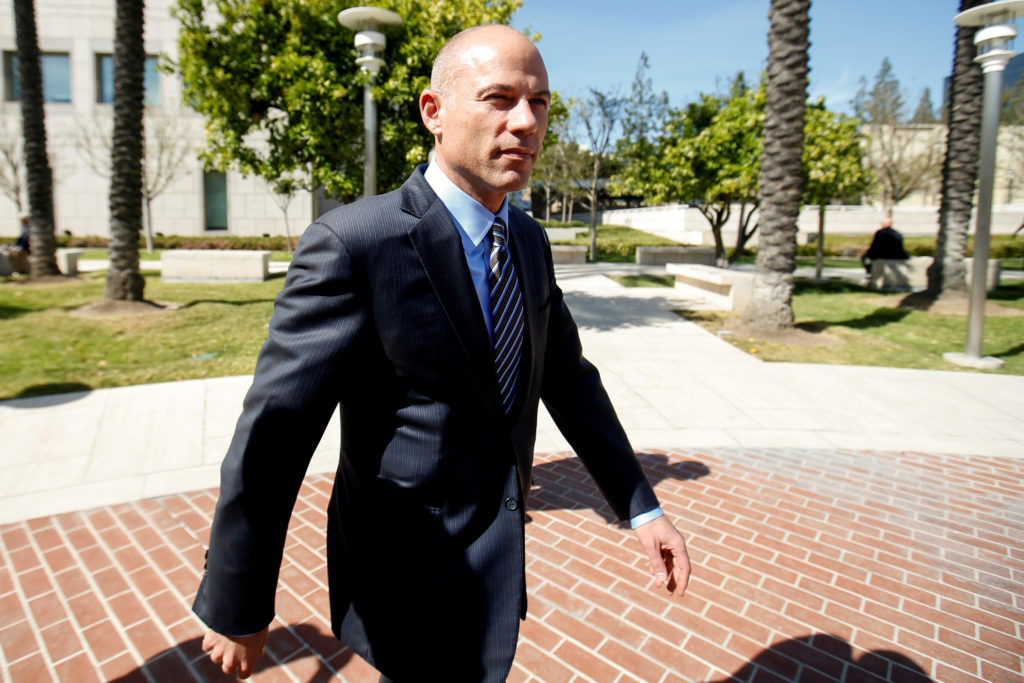 Attorney Michael Avenatti leaves court after making an initial appe…