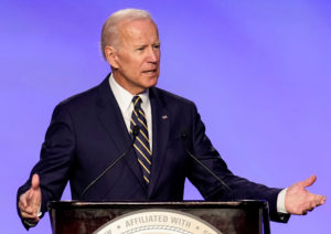 Former Vice President Joe Biden who is mulling a 2020 presidential candidacy, speaks at the International Brotherhood of Electrical Workers' (IBEW) construction and maintenance conference in Washington, on April 5, 2019. Photo by Joshua Roberts/Reuters