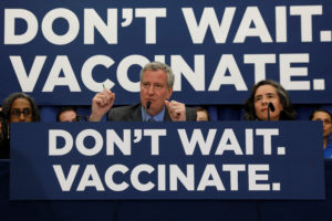 New York City Mayor Bill de Blasio speaks during a news conference declaring a public health emergency in parts of Brooklyn in response to a measles outbreak, requiring unvaccinated people living in the affected areas to get the vaccine or face fines on April 9, 2019. Photo by REUTERS/Shannon Stapleton