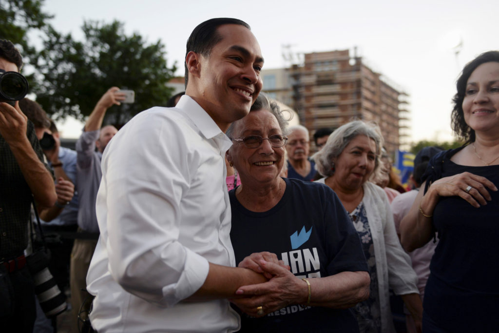 U.S. 2020 Democratic presidential candidate Julian Castro interacts…