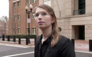 Former U.S. Army intelligence analyst Chelsea Manning speaks to reporters outside the U.S. federal courthouse shortly before appearing before a federal judge and being taken into custody as he held her in contempt of court for refusing to testify before a federal grand jury in Alexandria, Virginia, on March 8, 2019. Photo by Ford Fischer/News2Share/via Reuters