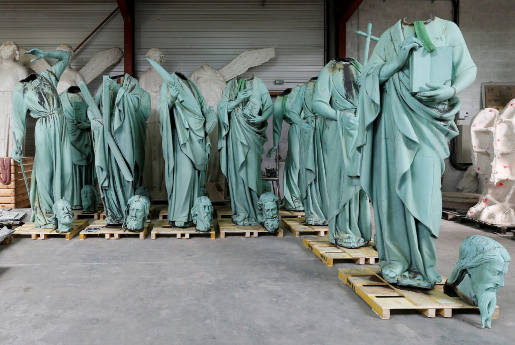 Statues that were removed from the spire of Paris' Notre-Dame Cathedral are seen in a workshop at the Socra company for restoration work in Marsac-sur-L'Isle, France, France, April 16, 2019. Yesterday, a massive fire devastated large parts of the gothic cathedral in Paris. Photo by Regis Duvignau/Reuters