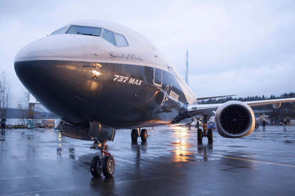 A Boeing 737 MAX 8 sits outside the hangar during a media tour of the Boeing 737 MAX at the Boeing plant in Renton, Washin...