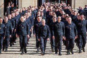 Parisian Firefighters' brigade arrives at Elysee Palace to attend a speech of the French President Emmanuel Macron, to pay tribute to the firemen who took part at the fire extinguishing's operations during the Notre Dame of Paris Cathedral fire, in Paris, France, April 18, 2019. Photo by Christophe Petit Tesson/Pool via REUTERS