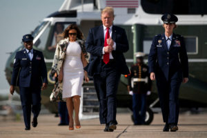 U.S. President Donald Trump and U.S. first lady Melania Trump walk to board Air Force One as they travel to Florida for Easter weekend, at Joint Base Andrews in Maryland, U.S., April 18, 2019. Photo by REUTERS/Al Drago