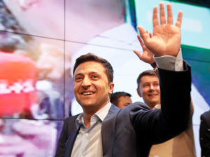 Ukrainian presidential candidate Volodymyr Zelenskiy reacts following the announcement of the first exit poll in a presidential election at his campaign headquarters in Kiev, Ukraine on April 21, 2019. Photo by Valentyn Ogirenko/Reuters