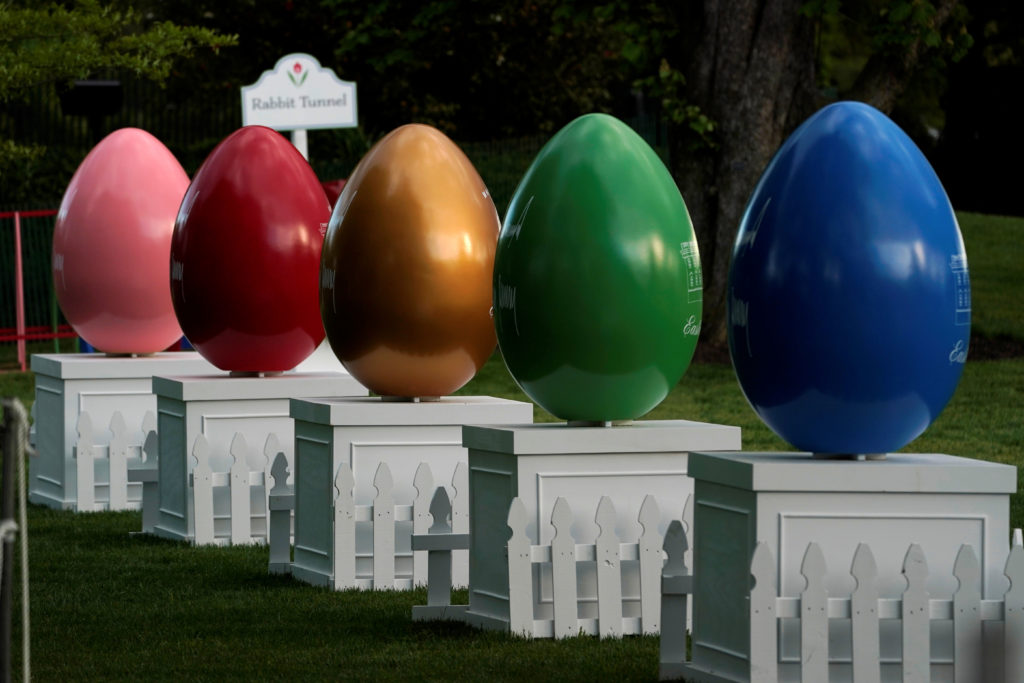 Giant Easter eggs are seen in preparations for the Monday Egg Roll on South Lawn of the White House in Washington. Photo by Yuri Gripas/Reuters