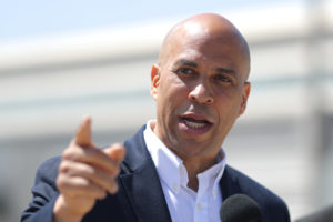 Democratic presidential candidate New Jersey Sen. Cory Booker speaks in Los Angeles on April 22, 2019. Photo by Lucy Nicholson/Reuters