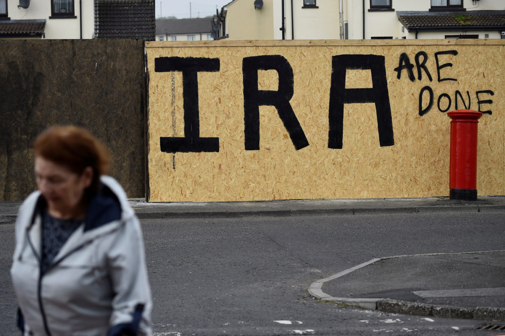 IRA graffiti painted over with a message declaring it a defeated army in the aftermath of the killing of 29-year-old journalist Lyra McKee is pictured in Londonderry, Northern Ireland. Photo by Clodagh Kilcoyne/Reuters