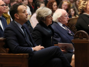 Ireland's Prime Minister Leo Varadkar, Britain's Prime Minister Theresa May and Ireland's President Michael D. Higgins attend the funeral service for murdered journalist Lyra McKee at St Anne's Cathedral in Belfast, Northern Ireland. Photo by Brian Lawless/Pool via Reuters