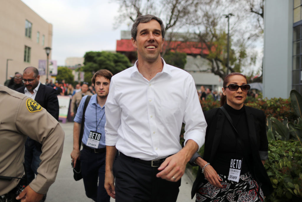 Democratic presidential candidate Beto O'Rourke leaves after speaking at a rally in Los Angeles, California, on April 27, 2019. Photo by Lucy Nicholson/Reuters