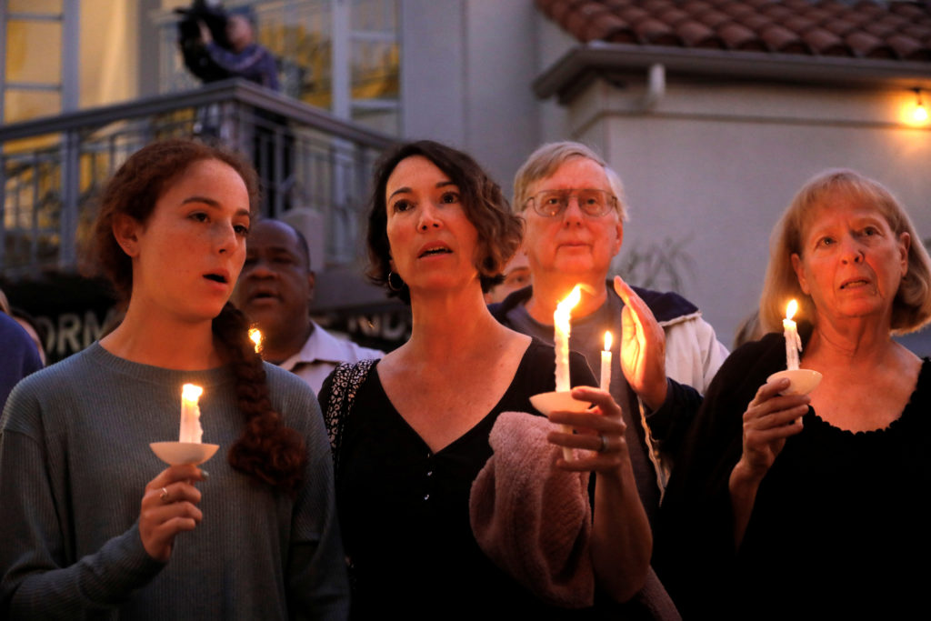 A candlelight vigil is held at Rancho Bernardo Community Presbyterian Church for victims of a shooting incident at the Congregation Chabad synagogue in Poway, north of San Diego, California, April 27, 2019. Photo by John Gastaldo/Reuters