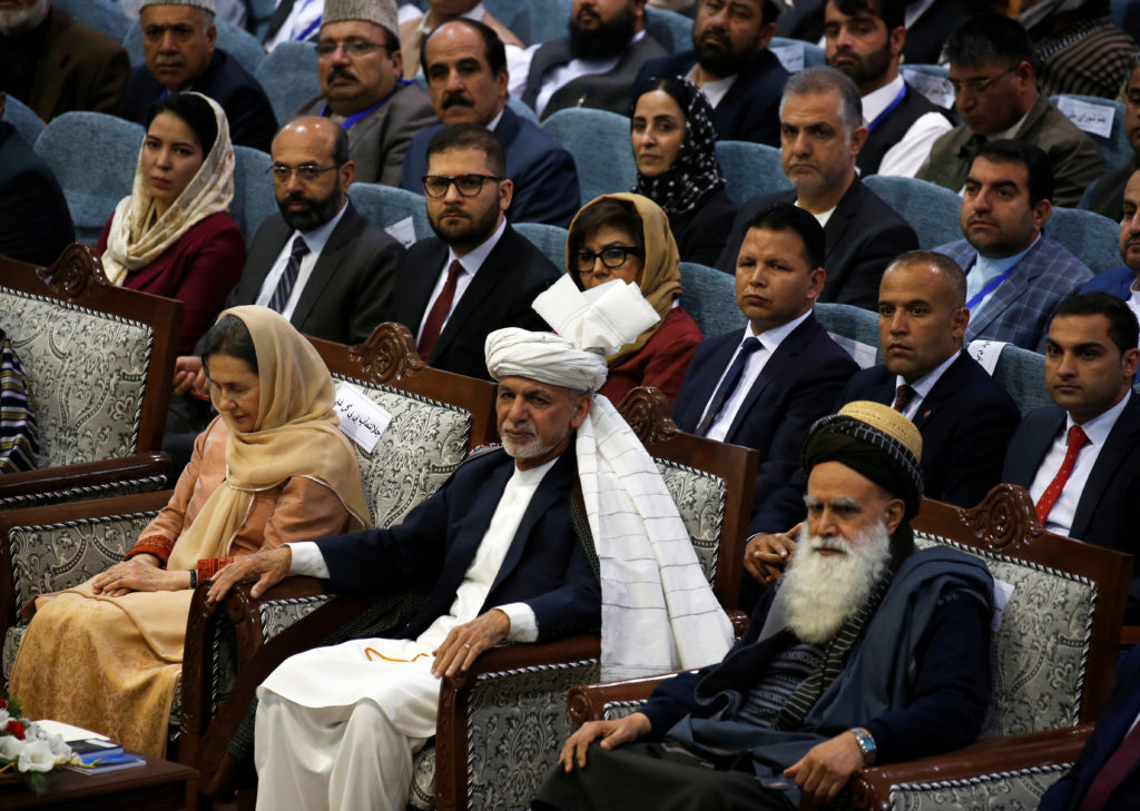 Afghanistan's President Ashraf Ghani attends a consultative grand assembly, known as Loya Jirga, in Kabul, Afghanistan on April 29, 2019. Photo by Omar Sobhani/Reuters