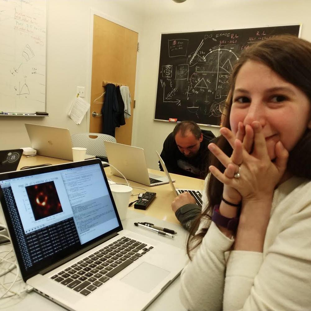 Imaging scientist Katie Bouman watching the first reconstructed image of a black hole emerge from the Event Horizon Telescope data. Image courtesy of Katie Bouman