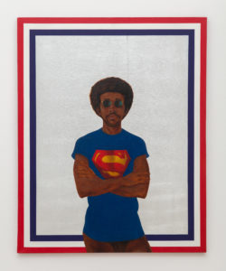 """Icon for My Man Superman (Superman Never Saved any Black People – Bobby Seale)"", 1969, by Barkley L. Hendricks. Hendricks himself put on a Superman T-shirt, round sunglasses, and nothing else for this self-portrait. Photo by Pablo Enriquez"