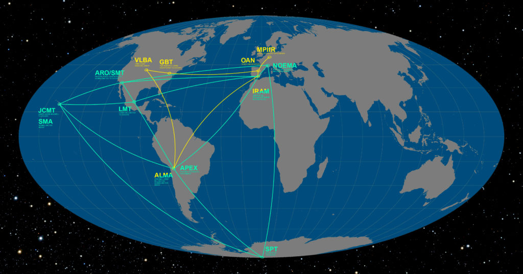 This infographic details the locations of the participating telescopes of the Event Horizon Telescope (EHT; green) and the Global mm-VLBI Array (GMVA; yellow). Their goal is to image, for the very first time, the shadow of the event horizon of the supermassive black hole at the centre of the Milky Way, as well as to study the properties of the accretion and outflow around the Galactic Centre. Map and caption by European Southern Observatory/O. Furtak