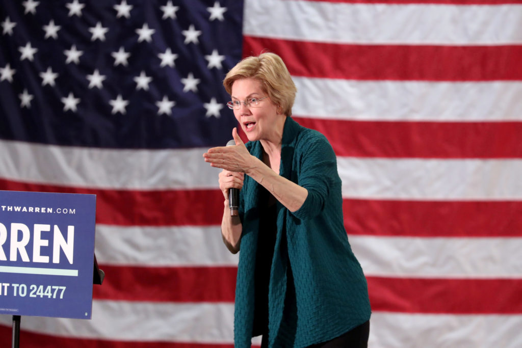 Democratic 2020 presidential candidate and Sen. Elizabeth Warren speaks to supporters in Memphis, Tennessee, on March 17, ...