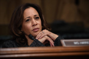Sen. Kamala Harris, D-CA, listens to Christine Blasey Ford, the woman accusing Supreme Court nominee Brett Kavanaugh of sexually assaulting her at a party 36 years ago, testifying before the US Senate Judiciary Committee on Capitol Hill in Washington, U.S., September 27, 2018. Saul Loeb/Pool via REUTERS - RC169C8F39F0