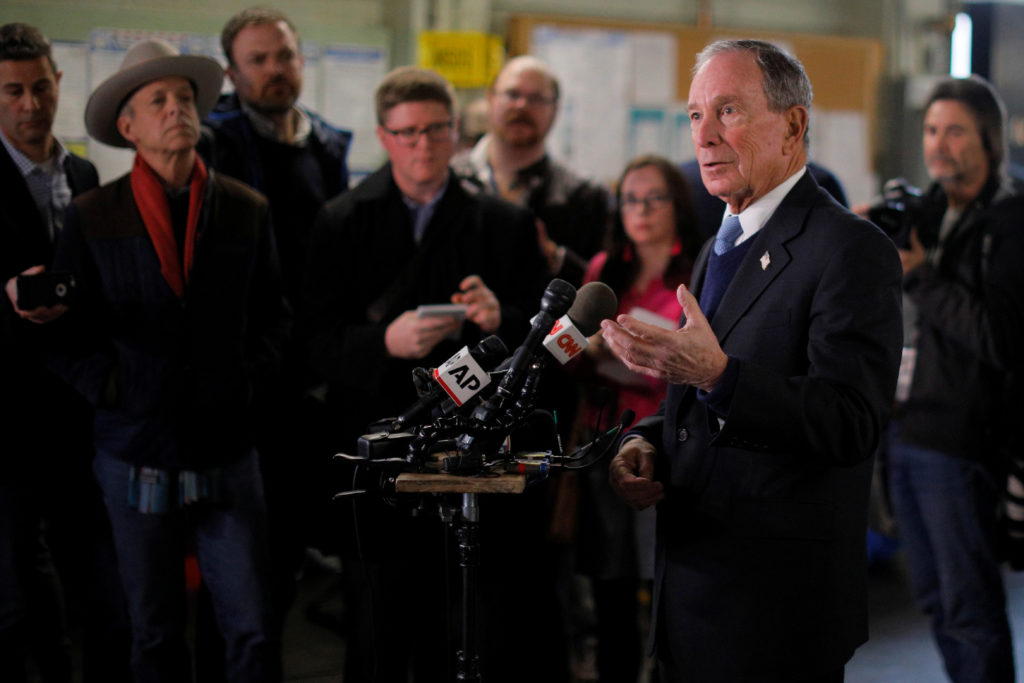 Former New York City Mayor and possible 2020 Democratic presidential candidate Michael Bloomberg answers questions from reporters following a tour of WH Bagshaw Company in Nashua, New Hampshire, U.S., January 29, 2019. REUTERS/Brian Snyder - RC1E5C246A00