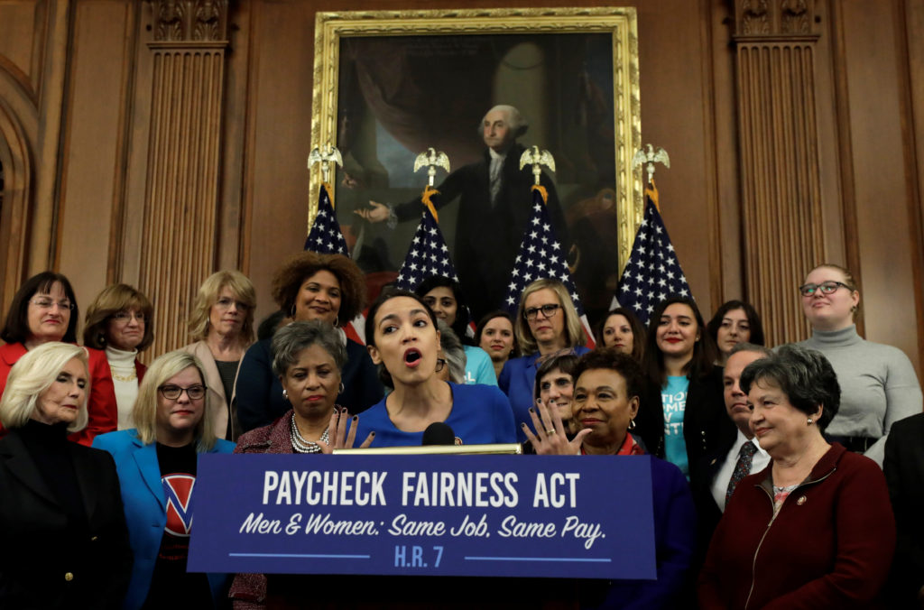 """Rep. Alexandria Ocasio-Cortez (D-NY) speaks at House Democrats news conference to reintroduce the H.R.7 """"Paycheck Fairness Act"""" on Capitol Hill in Washington, on January 30, 2019. Photo by Yuri Gripas/Reuters"""