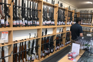 Firearms and accessories are displayed at Gun City gunshop in Christchurch, New Zealand on March 19, 2019. Photo by Jorge Silva/Reuters