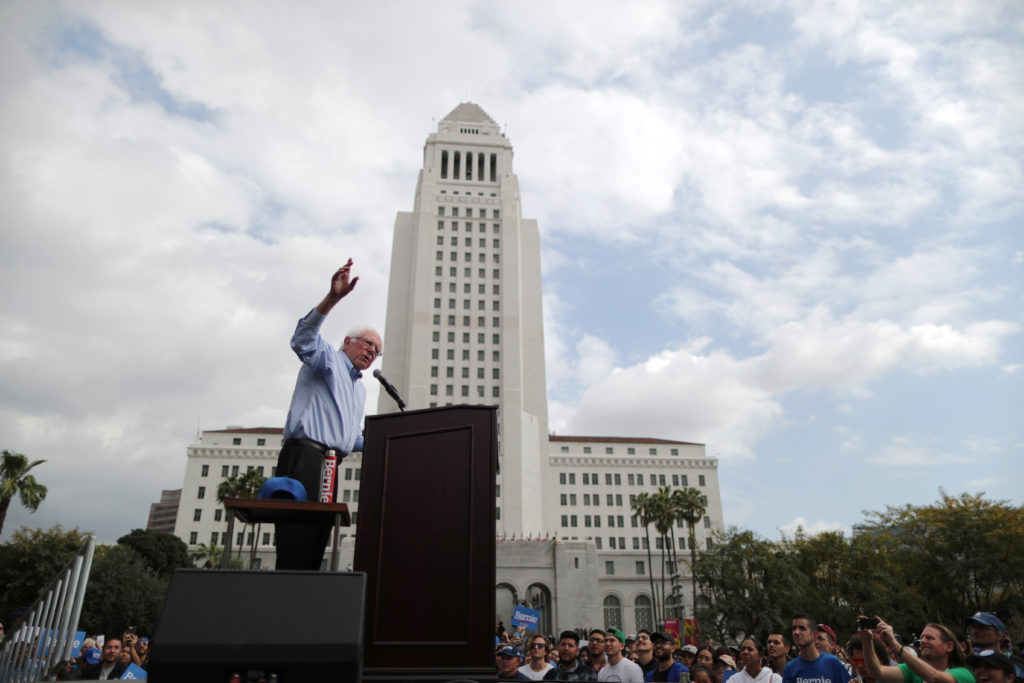 Democratic presidential candidate Bernie Sanders speaks at a rally in downtown Los Angeles, March 23, 2019.  Photo by Lucy Nicholson/Reuters