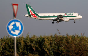 An Alitalia Airbus A320-200 airplane comes in to land at Fiumicino airport in Rome, Italy October 24, 2018. The WTO ruled in May last year that the EU had in fact provided some illegal subsidies to Airbus, hurting U.S. manufacturer Boeing. Photo by Max Rossi/Reuters