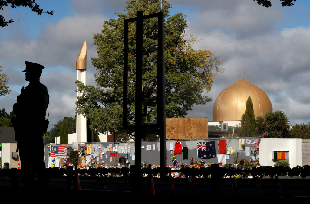 A police officer stands guard outside Al Noor mosque in Christchurch, New Zealand, on March 22, 2019. Photo by Jorge Silva/Reuters