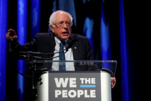 2020 Democratic presidential candidate and Senator Bernie Sanders participates in a moderated discussion at the We the People Summit in Washington, April 1, 2019. Photo by Carlos Barria/Reuters