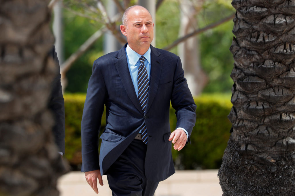 Attorney Michael Avenatti makes an initial appearance on charges of bank and wire fraud as he arrives at federal court in Santa Ana, California, on April 1, 2019. Photo by Mike Blake/Reuters