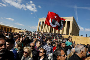 Supporters of Ekrem Imamoglu, main opposition Republican People's Party (CHP) candidate for mayor of Istanbul, wait for him to visit Anitkabir, the mausoleum of modern Turkey's founder Mustafa Kemal Ataturk, in Ankara, Turkey on April 2, 2019. Photo by Umit Bektas/Reuters