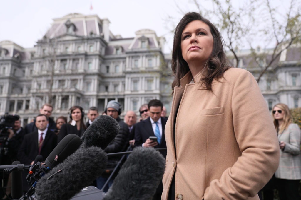 White House Press Secretary Sarah Huckabee Sanders speaks to reporters at the White House in Washington on April 2, 2019. Photo by Jonathan Ernst/Reuters