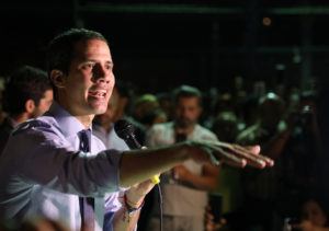 Venezuelan opposition leader Juan Guaido, who many nations have recognized as the country's rightful interim ruler, talks to the media during a news conference in Caracas, Venezuela, April 2, 2019. Photo by Manaure Quintero/Reuters