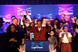 Mayoral candidate Lori Lightfoot speaks during her election night celebration after defeating her challenger Toni Preckwinkle in a runoff election in Chicago, April 2, 2019. Photo by Joshua Lott/Reuters