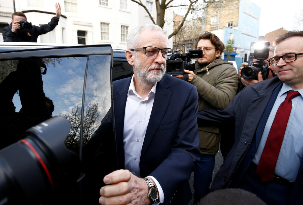 British opposition Labour Party leader Jeremy Corbyn gets into a car as he leaves his home in London, April 3, 2019. Photo by Henry Nicholls/Reuters