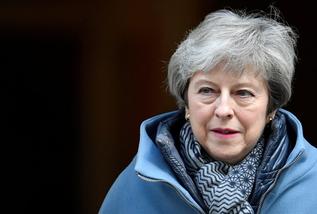 British Prime MinisterTheresaMay is seen outside Downing Street in London, April 3, 2019. Photo by Toby Melville/Reuters